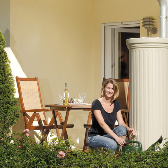 Column tank stylish rainwater harvesting sand beige